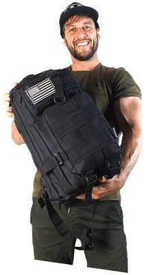 holding backpack